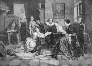 A 19th c. engraving imagining Shakespeare reading to his family. Hamnet is standing to the bard's left.