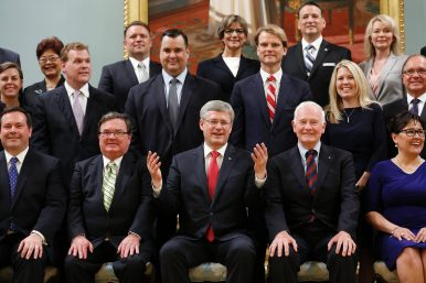 Canadian PM Stephen Harper and his July 2013 reshuffled cabinet.