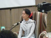 Aung San Suu Kyi at Irrawaddy LitFest in Mandalay, Myanmar.