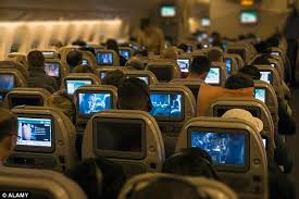 In-flight movies.