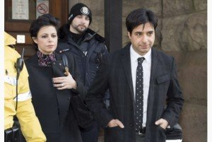 Marie Henein and Jian Ghomeshi leaving court.