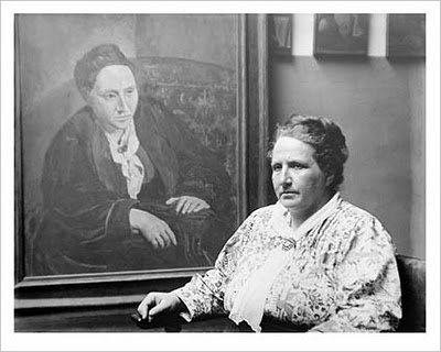 Gertrude Stein. Stein portrait by P icasso. Photo: Man Ray.
